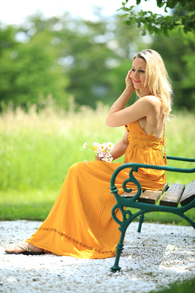 Maxikleid, Styling, Sommer, Boho Look, Hippie Kleid, collected by Katja, Ü40 Blog, Modeblog