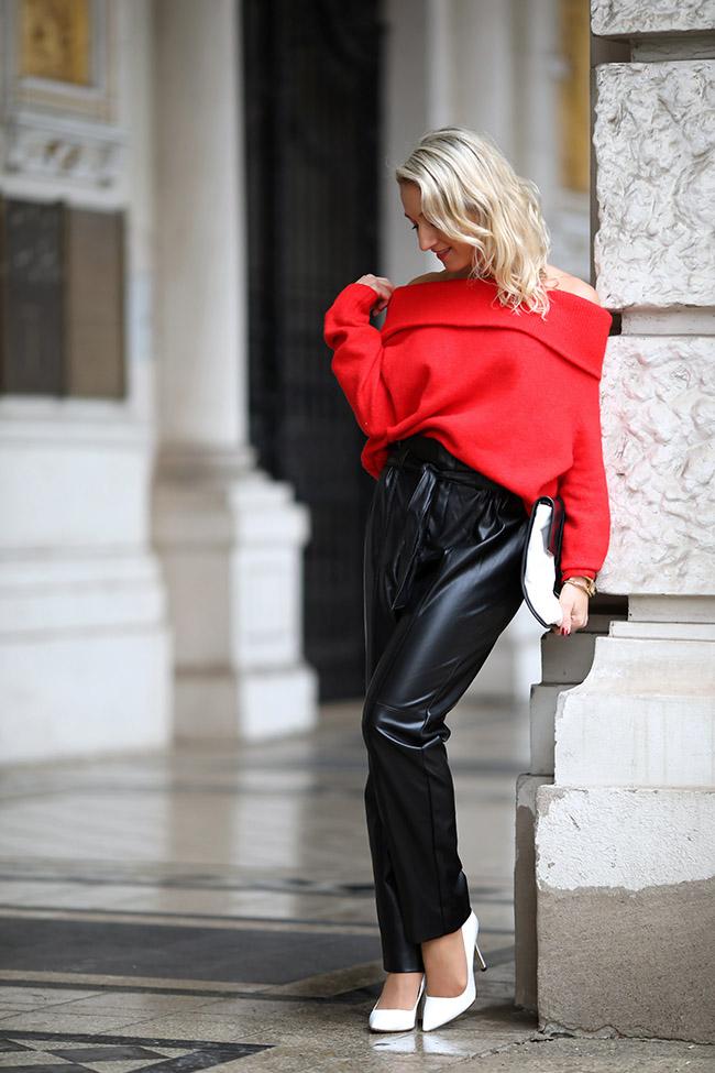 Paperbag Hose Leder, paper bag pants leather, off-shoulder sweater, schulterfreier Pullover, weiße Heels, Blogger Outfit Winter, Blogger Outfit elegant, Ü40 Outfit, collected by Katja, lifestyle blog for women