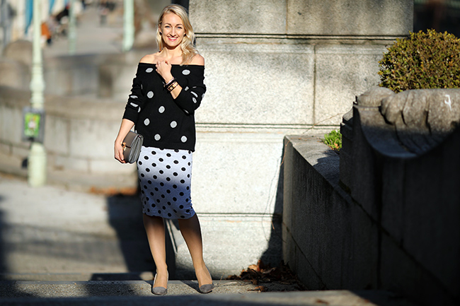 collected by Katja, Modeblog Österreich, lifestyle blog, fashion over 40, Mode Ü 40, Styling Ü 40, Styling Polka Dots, Outfit Polka Dots, Outfit Bleistiftrock, Modetrends 2020